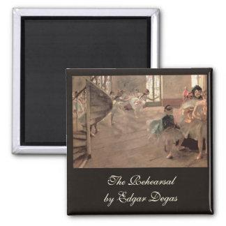 The Rehearsal by Edgar Degas, Vintage Ballet Art Magnet