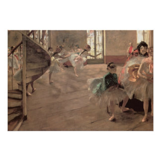 The Rehearsal by Edgar Degas, Vintage Ballet Art Poster