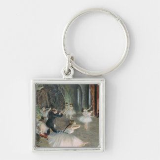 The Rehearsal of the Ballet on Stage, c.1878-79 Silver-Colored Square Keychain