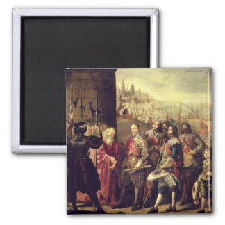 The Relief of Genoa, 1528, c.1634-35 (oil on canva 2 Inch Square Magnet