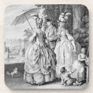 The Rendezvous at Marly, engraved by Carl Guttenbe Beverage Coaster