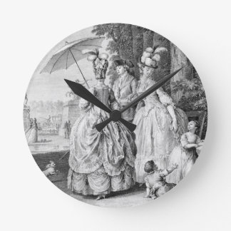 The Rendezvous at Marly, engraved by Carl Guttenbe Round Clock