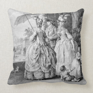 The Rendezvous at Marly, engraved by Carl Guttenbe Throw Pillows