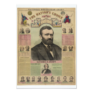 """The Republican Chart Ulysses S. Grant by M.T. Boyd 5"""" X 7"""" Invitation Card"""