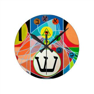 The Resh Shin Tav - Hebrew alphabet Round Wall Clocks