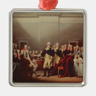 The Resignation of George Washington Square Metal Christmas Ornament