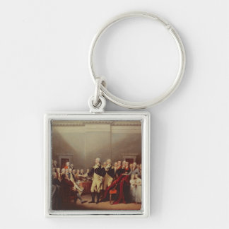 The Resignation of George Washington Silver-Colored Square Keychain