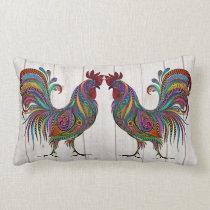 The Resplendent Rooster Lumbar Pillow - Back #2
