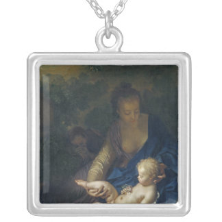 The Rest on the Flight into Egypt, 1706 Square Pendant Necklace