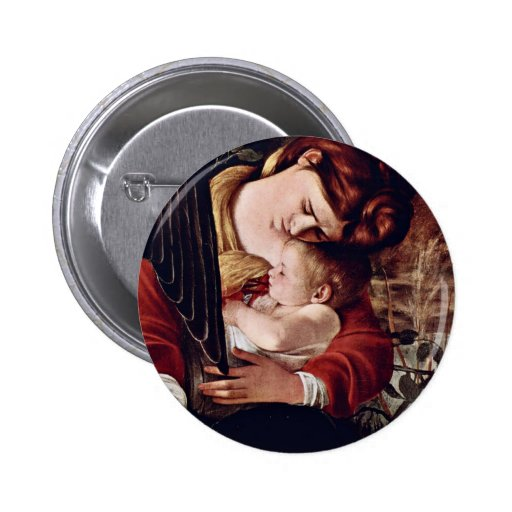 The Rest On The Flight Into Egypt  By Michelangelo Pinback Buttons