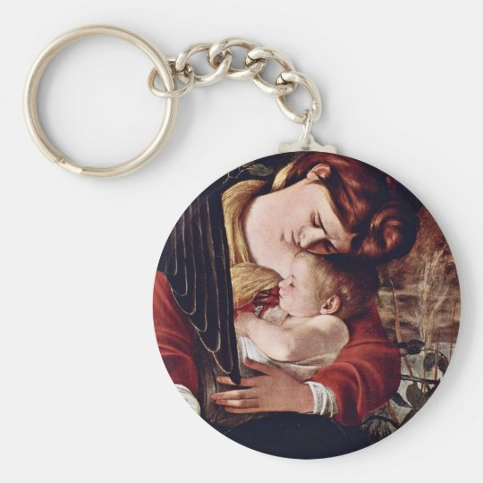 The Rest On The Flight Into Egypt  By Michelangelo Keychain