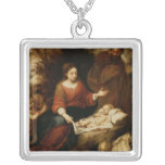 The Rest on the Flight into Egypt Square Pendant Necklace