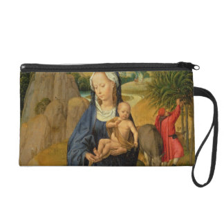 The Rest on the Flight into Egypt (oil on panel) Wristlet Clutch