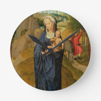 The Rest on the Flight into Egypt (oil on panel) Round Clock
