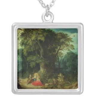 The Rest on the Flight into Egypt Silver Plated Necklace