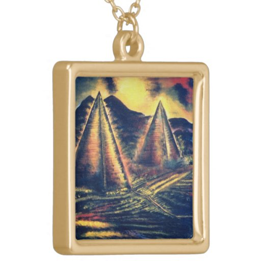 The Resting Place, Pyramids Square Pendant Necklace