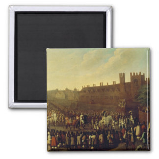 The Restoration of Charles II  at Whitehall 2 Inch Square Magnet