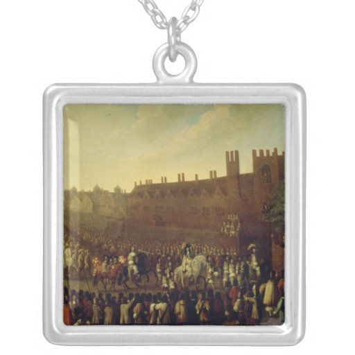The Restoration of Charles II  at Whitehall Square Pendant Necklace