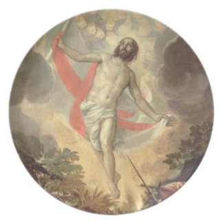The Resurrection of Christ (oil on canvas) Party Plate