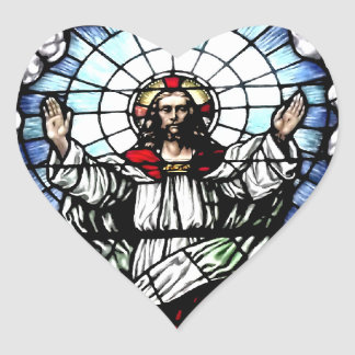 The Resurrection of our Lord (Stained Glass) Heart Sticker