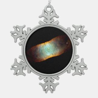 The Retina Nebula- Dying Star IC 4406 Snowflake Pewter Christmas Ornament