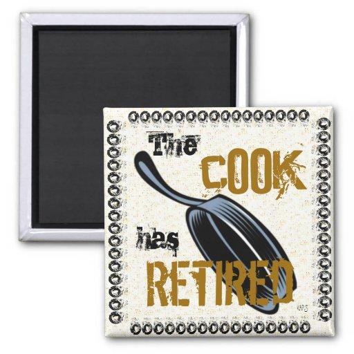The Retired Cook (specks/black) Magnets