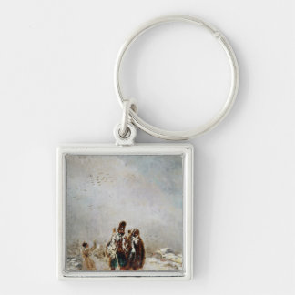 The Retreat from Russia Silver-Colored Square Keychain