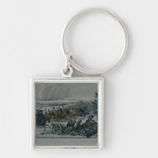 The retreat of the French army from Moscow Silver-Colored Square Keychain