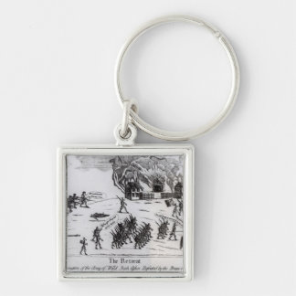 The Retreat, published 1775 Silver-Colored Square Keychain