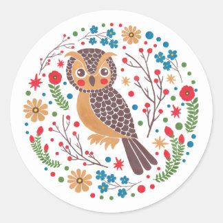 The Retro Horned Owl Classic Round Sticker