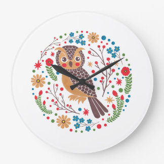 The Retro Horned Owl Large Clock