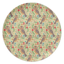 The Retro Horned Owl Melamine Plate