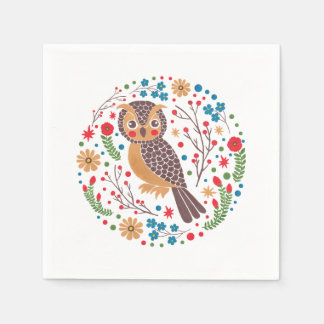 The Retro Horned Owl Napkin
