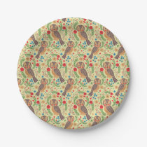 The Retro Horned Owl Paper Plate