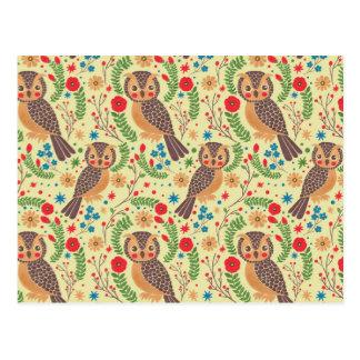 The Retro Horned Owl Postcard