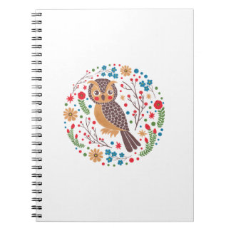 The Retro Horned Owl Spiral Notebook