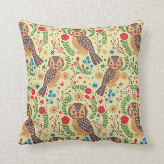 The Retro Horned Owl Throw Pillow