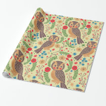 The Retro Horned Owl Wrapping Paper