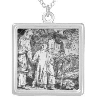 The Return from Egypt, or Jesus Christ Square Pendant Necklace