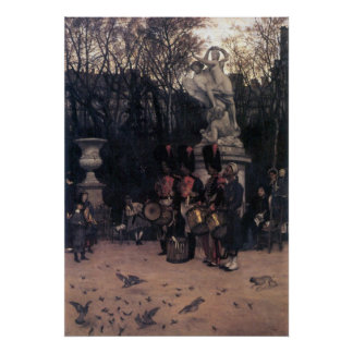 The return march in the Tuileries by James Tissot Poster