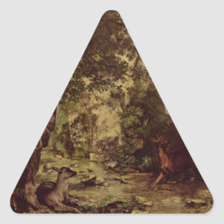 The Return of the Deer to the Stream at Plaisir Fo Triangle Sticker