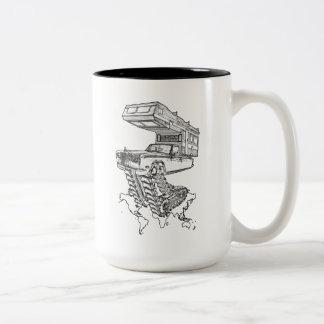 The Return of The Happy Camper Rolls On Tracks™ Two-Tone Coffee Mug