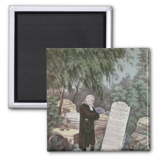The Rev. John Wesley visiting his mother's grave 2 Inch Square Magnet