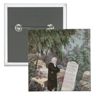 The Rev. John Wesley visiting his mother's grave 2 Inch Square Button