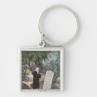 The Rev. John Wesley visiting his mother's grave Silver-Colored Square Keychain