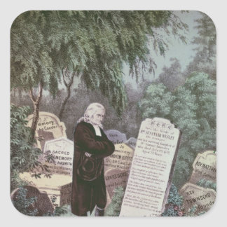 The Rev. John Wesley visiting his mother's grave Square Sticker