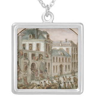 The Reveillon Riot of April, 1789 Square Pendant Necklace