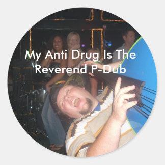 The Reverend P-Dub round sticker