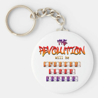 The revolution will be tweeted liked & shared (Ver Basic Round Button Keychain