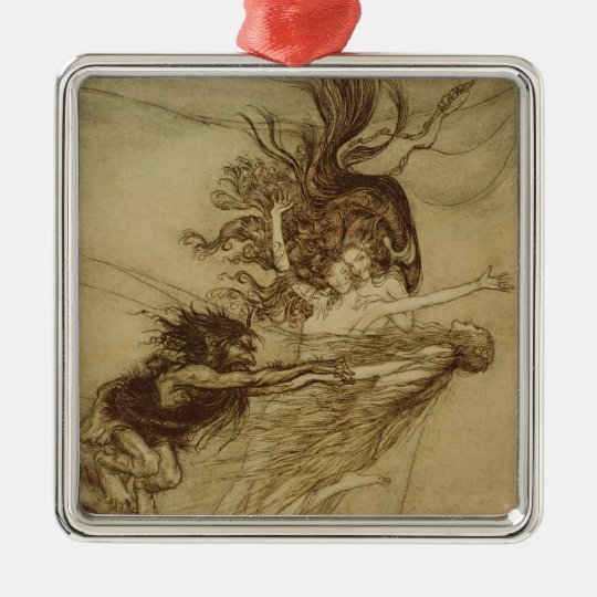 The Rhinemaidens teasing Alberich Metal Ornament